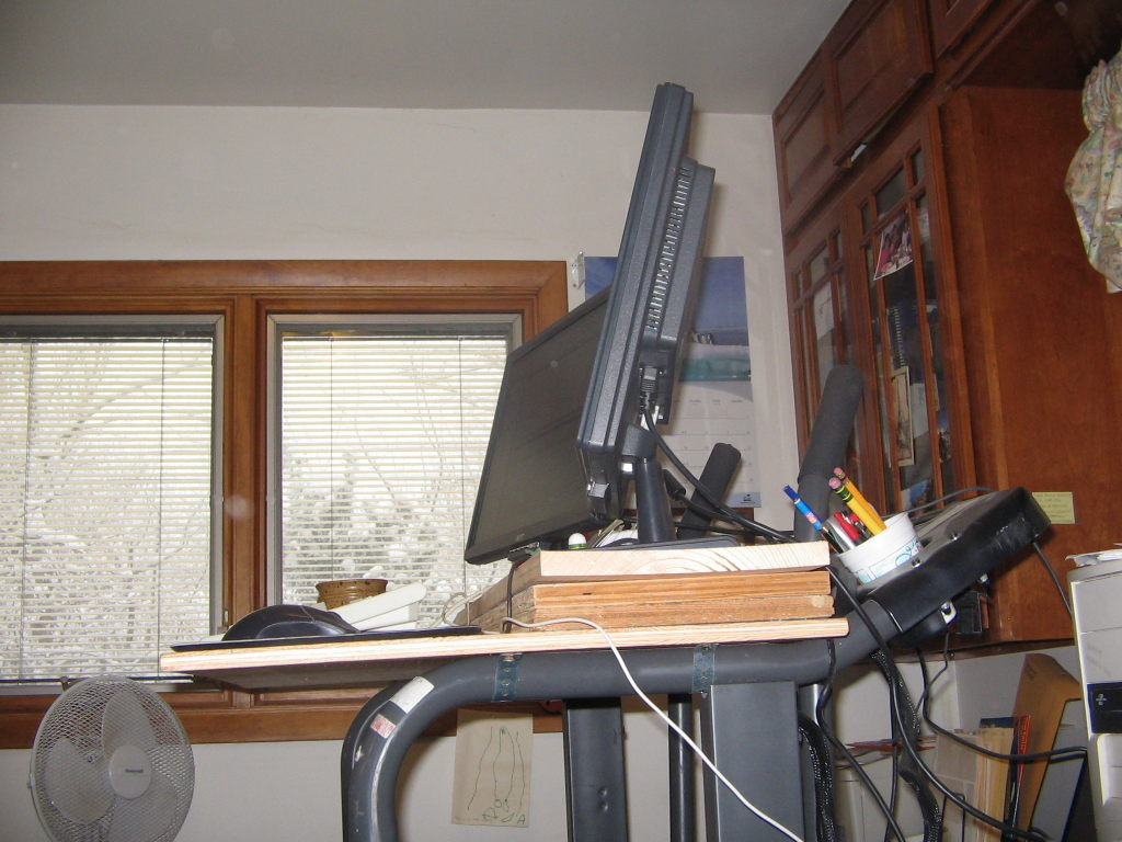 Computer monitors on treadmill desk